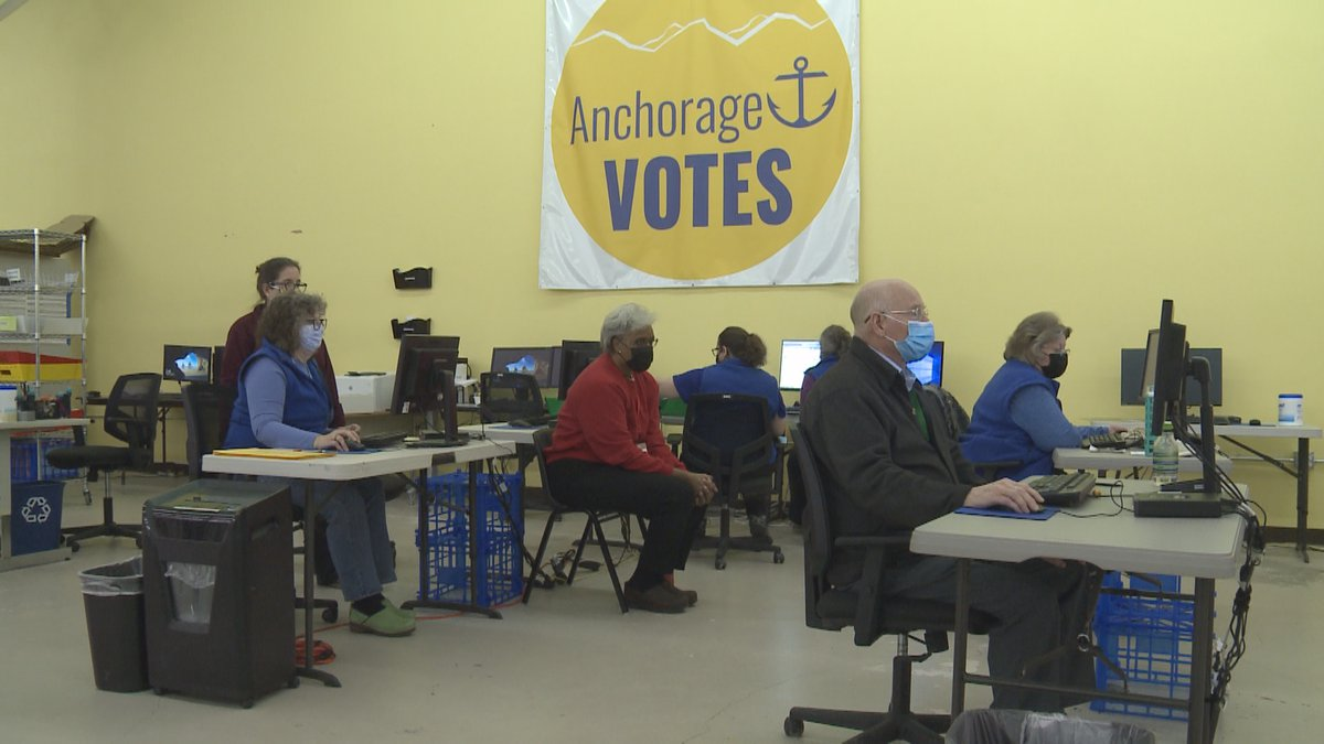 A look inside the Ship Creek election center on Election Day.