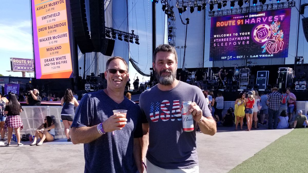Mike Cronk and Rob McIntosh at the Route 91 music festival in Las Vegas, before the mass shooting.