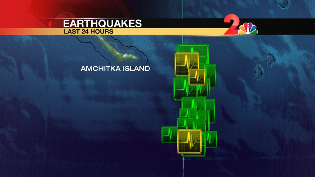 Small swarm of earthquakes near Amchitka Island in the western Aleutians.