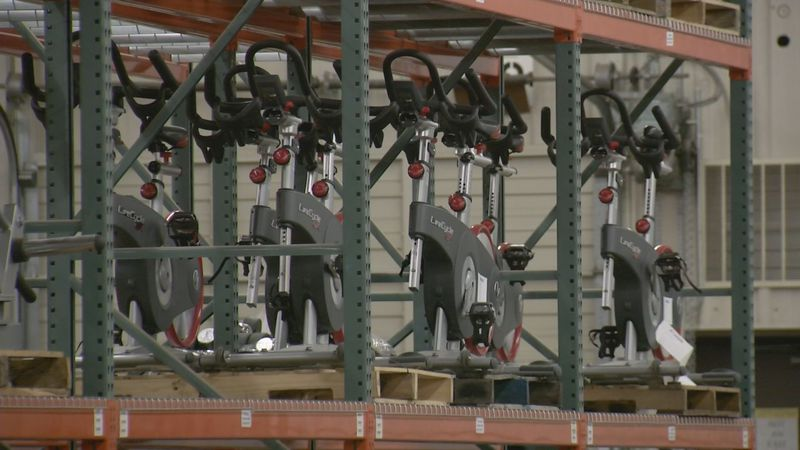 Exercise equipment from the military is offered to the public for sale.
