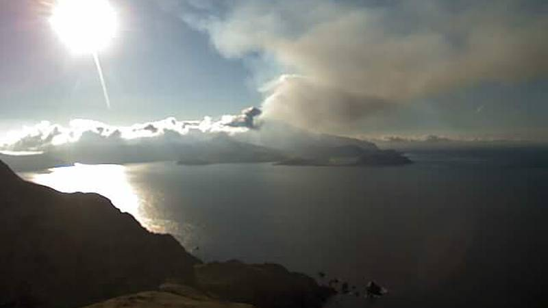 The Great Sitkin Volcano in the Aleutian Islands is under a warning alert after erupting the...