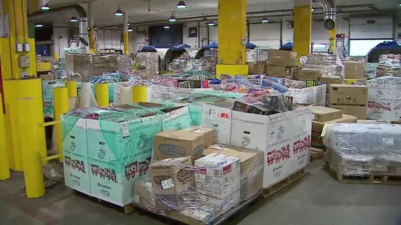 Some of the presents collected by Toys for Tots to be distributed around Alaska