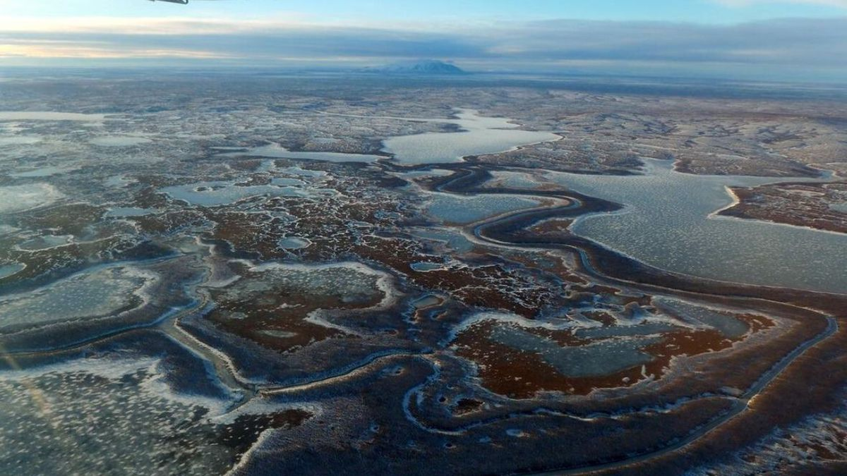 Ariel photograph of the Yukon Kuskokwim Delta Alaska (USGS/Public Domain)