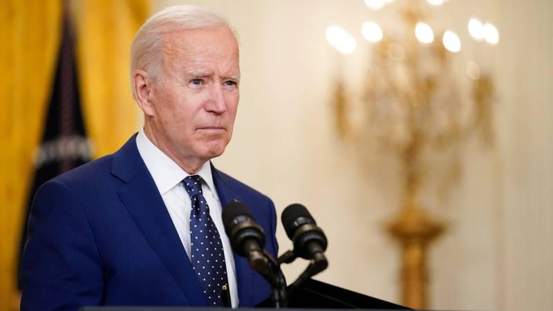 President Joe Biden speaks in the East Room of the White House on April 15, 2021, in Washington.