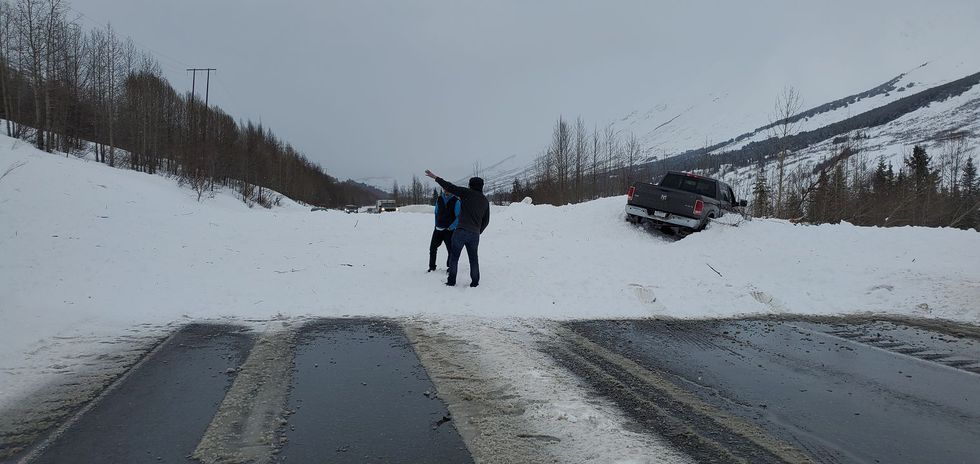 An avalanche is currently blocking the Seward Highway near milepost 45.