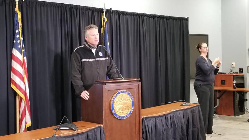 Gov. Mike Dunleavy speaks at a press conference on CARES Act funding.