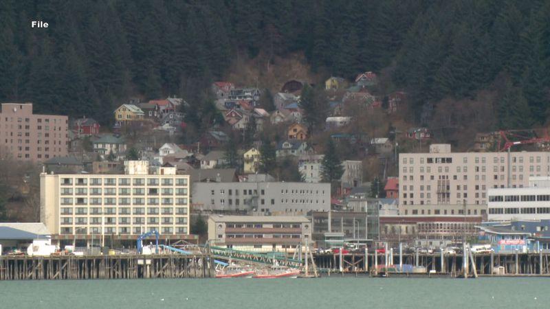 Downtown Juneau, Alaska, as seen from the water.