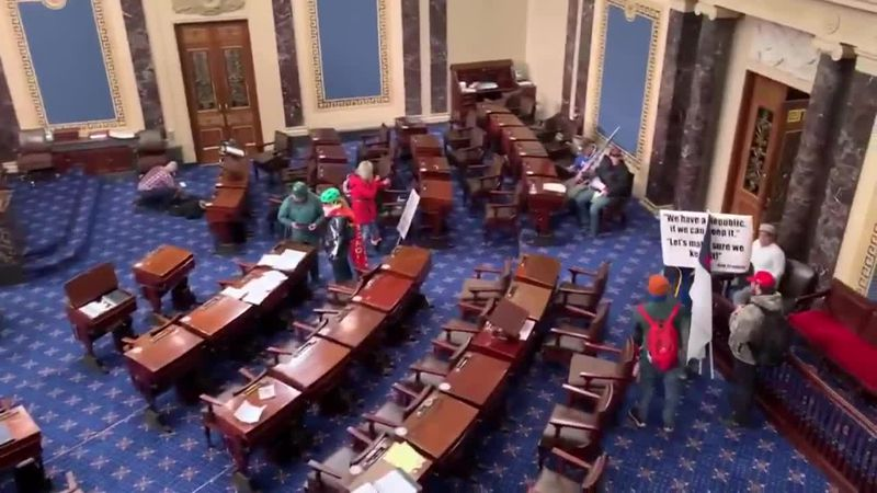 Protesters storm the U.S. Senate during Wednesday's protest