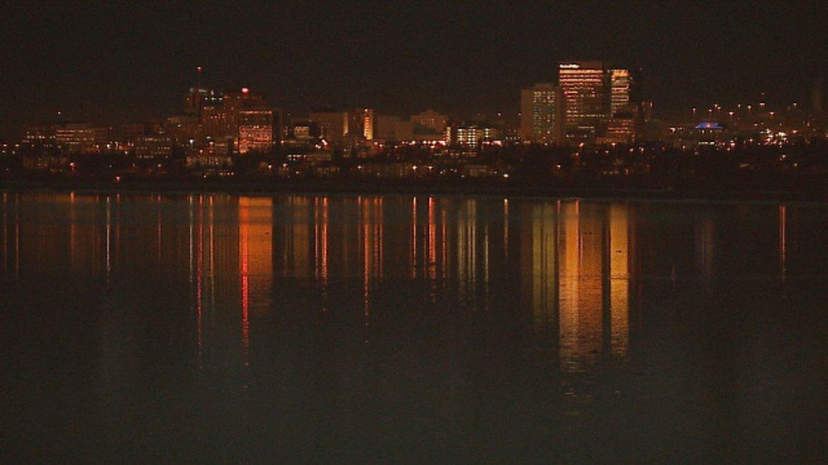 Anchorage skyline at night