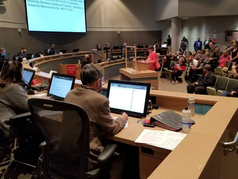 Members of the Anchorage Assembly hear testimony from residents on a proposed ordinance that...