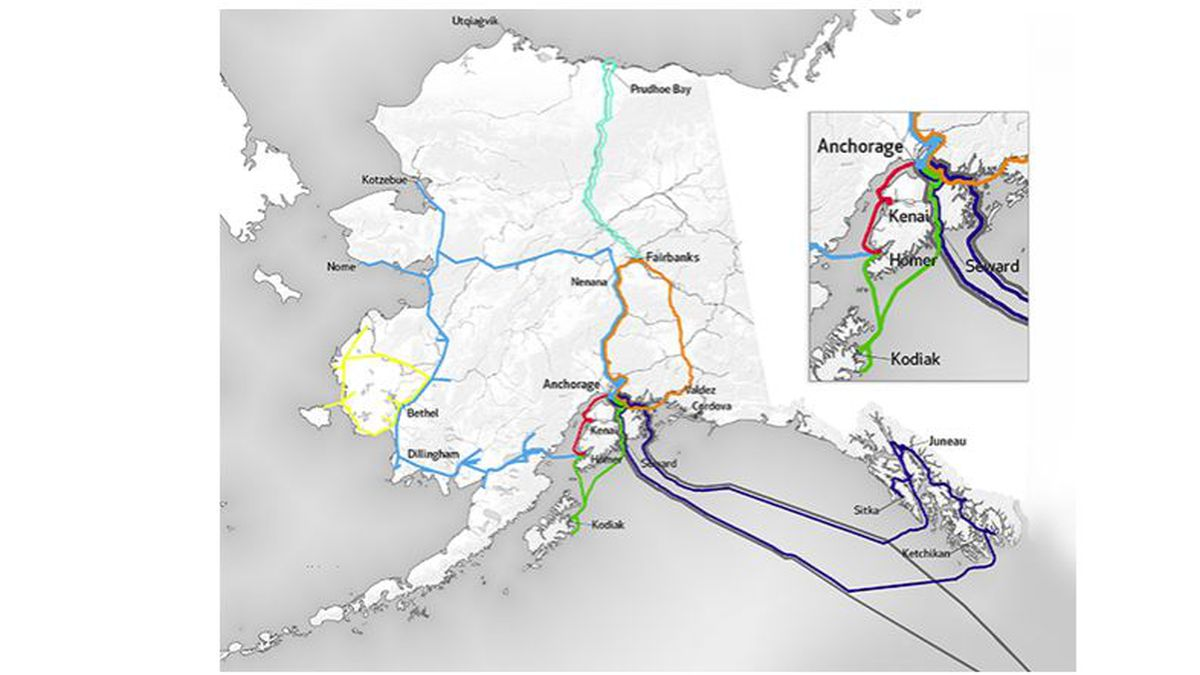 Map of GCI network in Alaska. (image courtesy GCI)