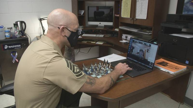 Naval Science Instructor Rene Dervaes finds creative ways to keep JROTC students at Chugiak...