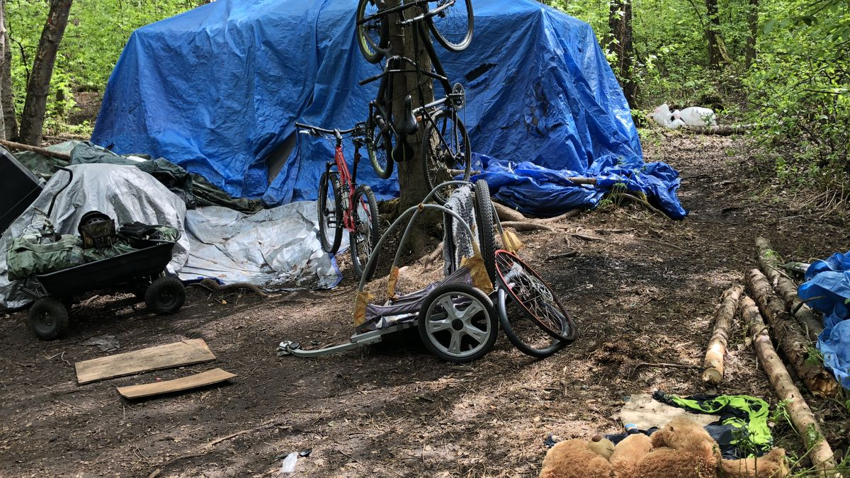 A tree doubles as a bike rack at a homeless camp near the Chester Creek greenbelt.