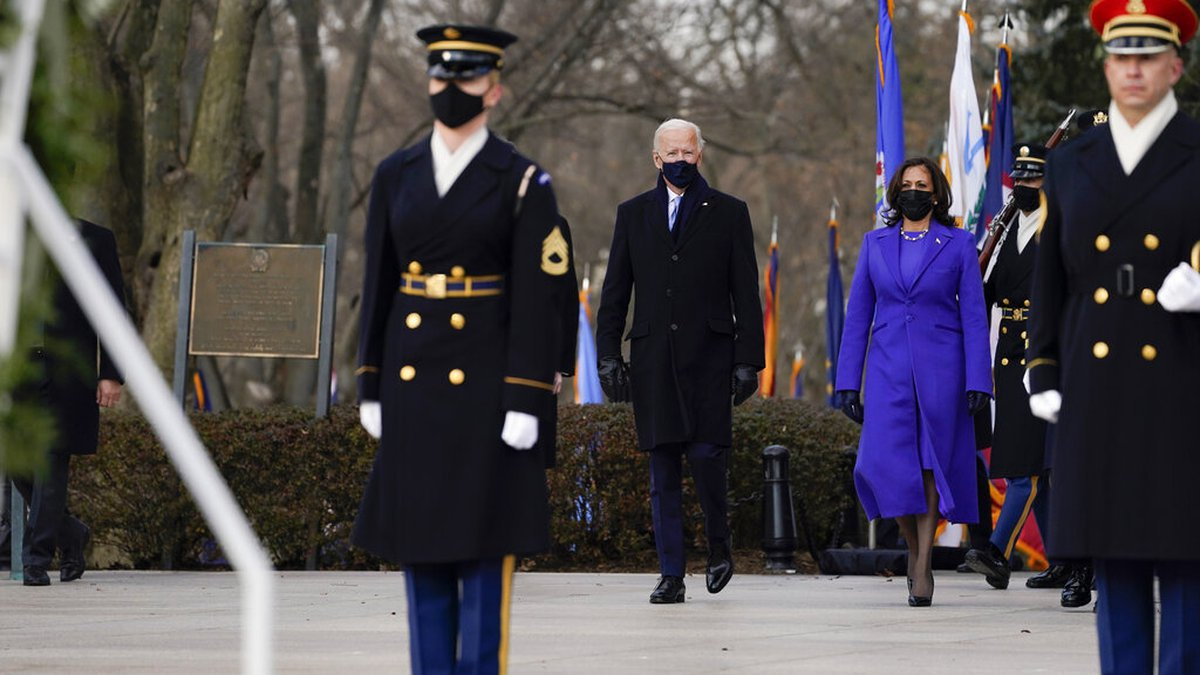 President Joe Biden and Vice President Kamala Harris arrive at the Tomb of the Unknown Soldier...