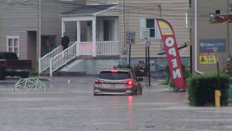 Heavy winds and drenching rains threatened to overrun a dam in Pennsylvania and caused other...