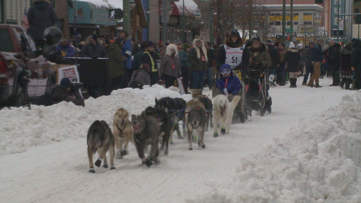 Katherine Keith at the ceremonial start of Iditarod 2018 (KTUU)