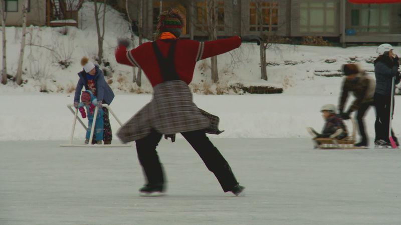 Man Ice skating at WestChester Lagoon