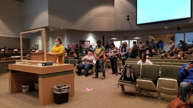 Members of the public testify during the regular Anchorage Assembly meeting on Tuesday, Oct....