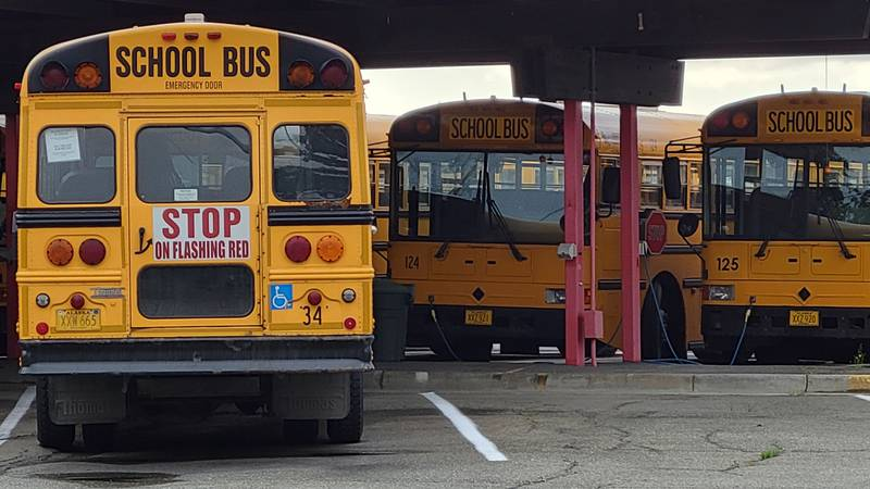 Anchorage School District buses at the district's barn on Elmore Road.