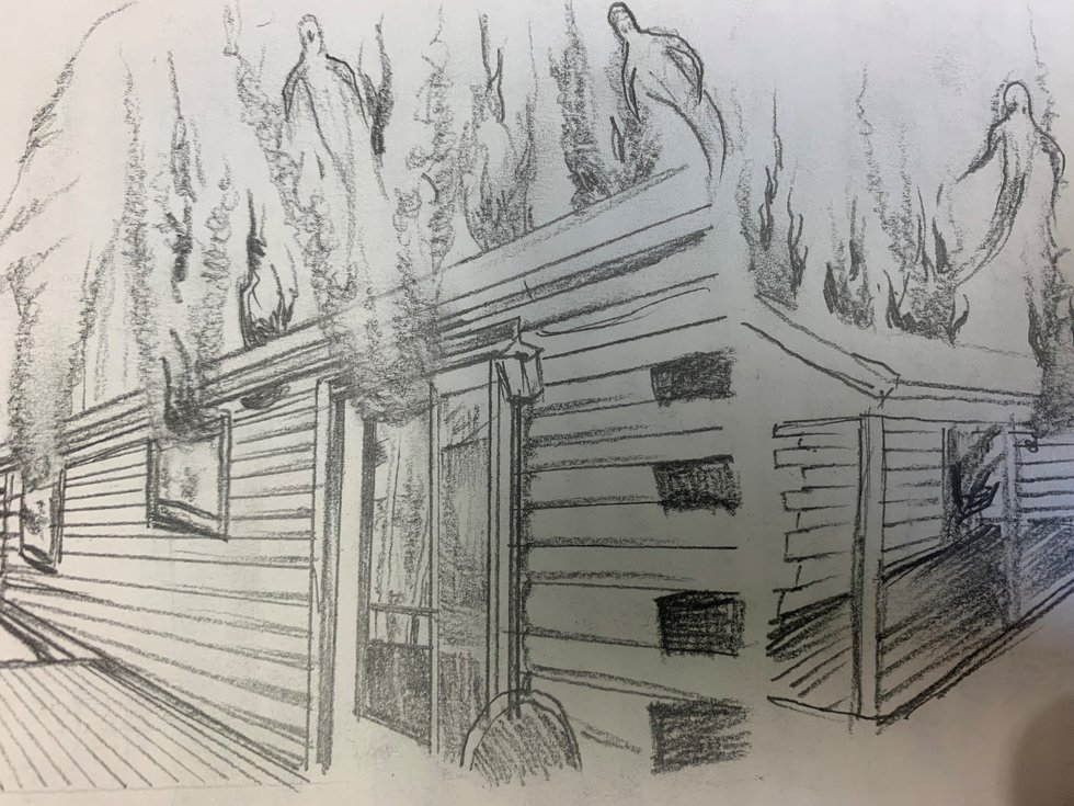 A drawing done by a man convicted in a murder for hire plot.