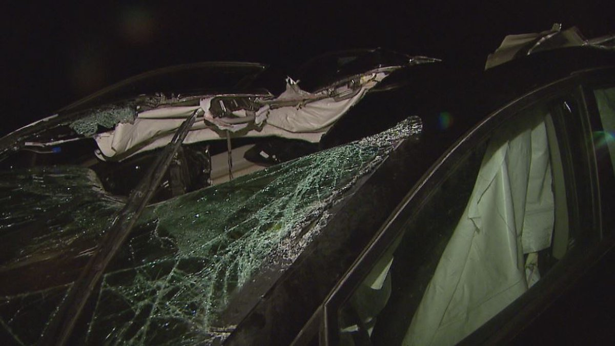 Damage to a car struck by a falling rock along the Seward Highway. Photo by KTUU...
