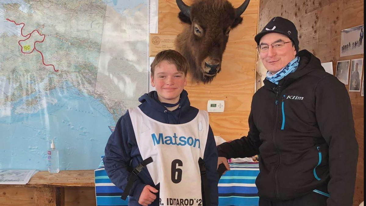 Morgan Martens (left) and Ryan Redington (right) after the 2021 Jr. Iditarod.