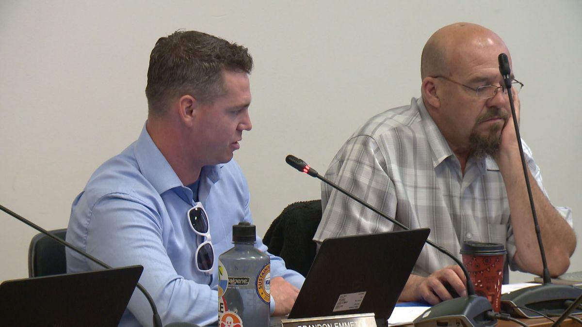 Brandon Emmett (left) at a Marijuana Control Board meeting, June 15, 2018 (KTUU)