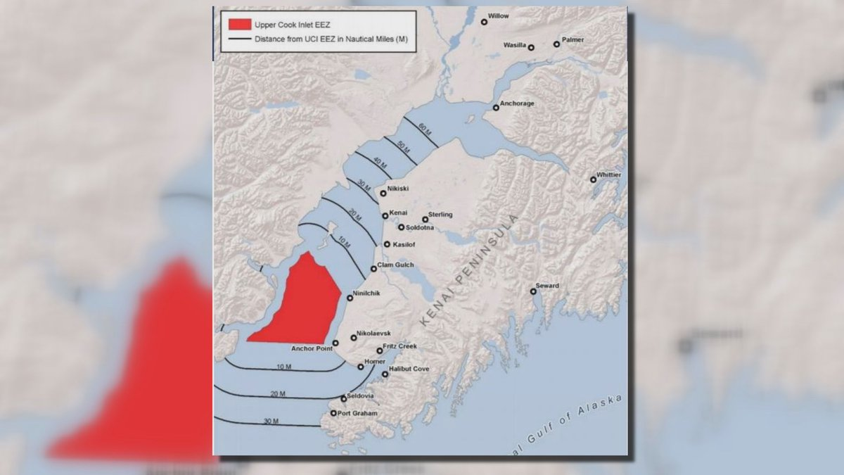 The area in red depicts the federal waters, Exclusive Economic Zone, of Cook Inlet.