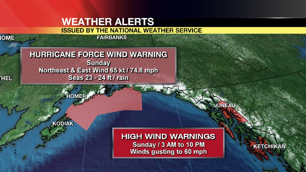 The National Weather Service has issued Hurricane Force Wind Warnings (in pink) and High Wind Warnings (in red) for Sunday.
