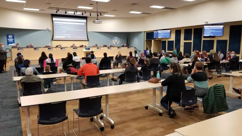 Parents and community members attend the Wednesday, Sept. 1, 2021 meeting of the...