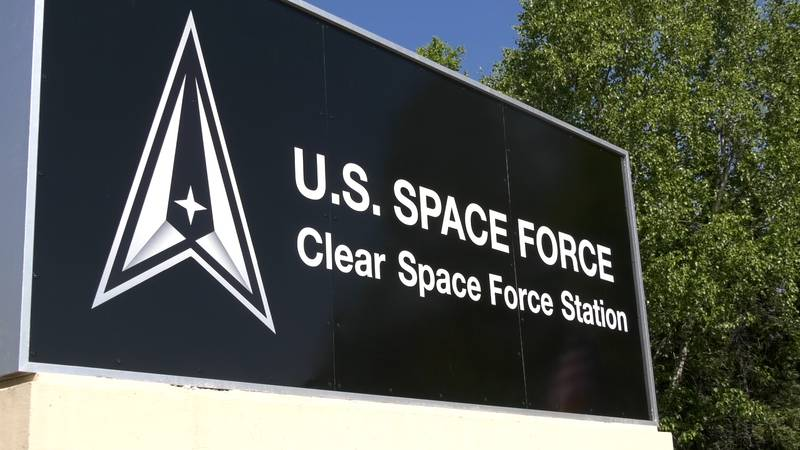 The newly unveiled sign at Clear Space Station. The station was formerly an Air Force Station.