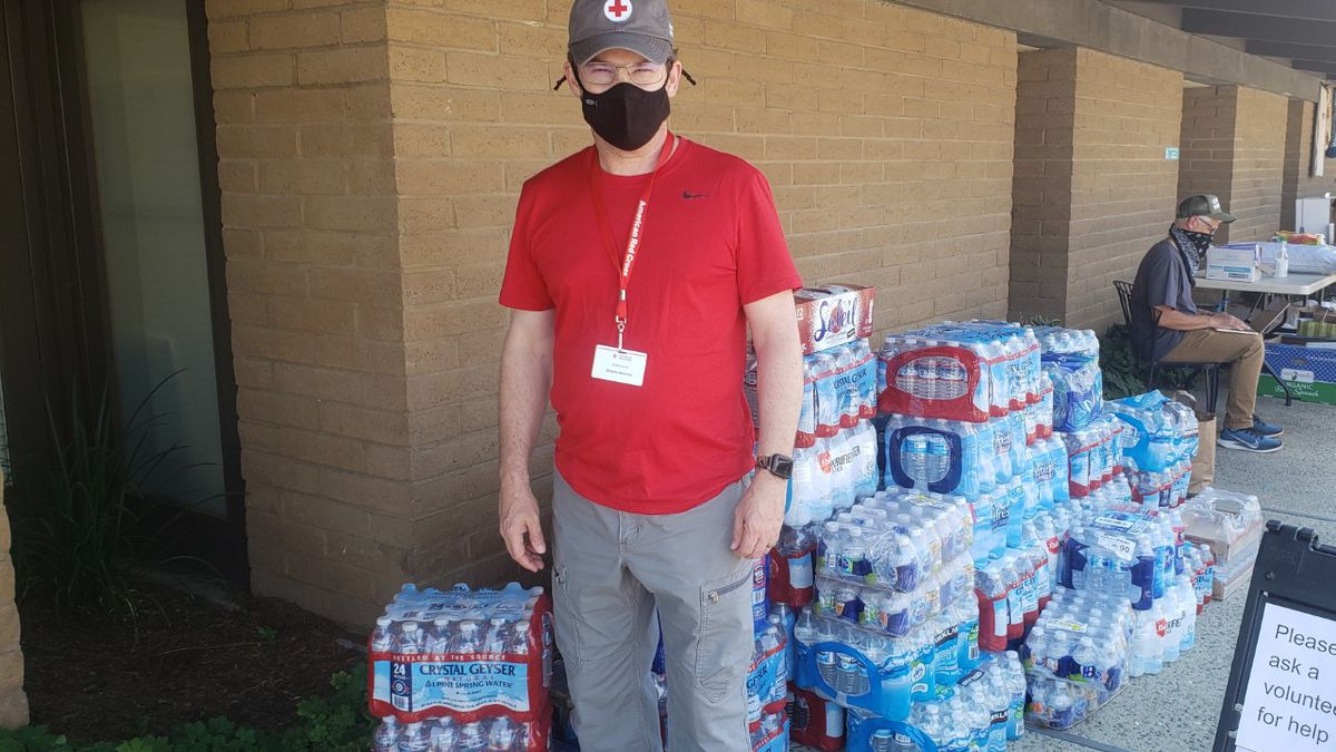 Shayne Jones volunteers at a Red Cross shelter at the Twin Lakes Church in Aptos, California.