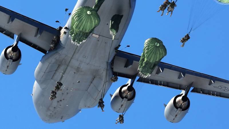 Soldiers assigned to U.S. Army Alaska's 425th Brigade Special Troops Battalion airdropped a...