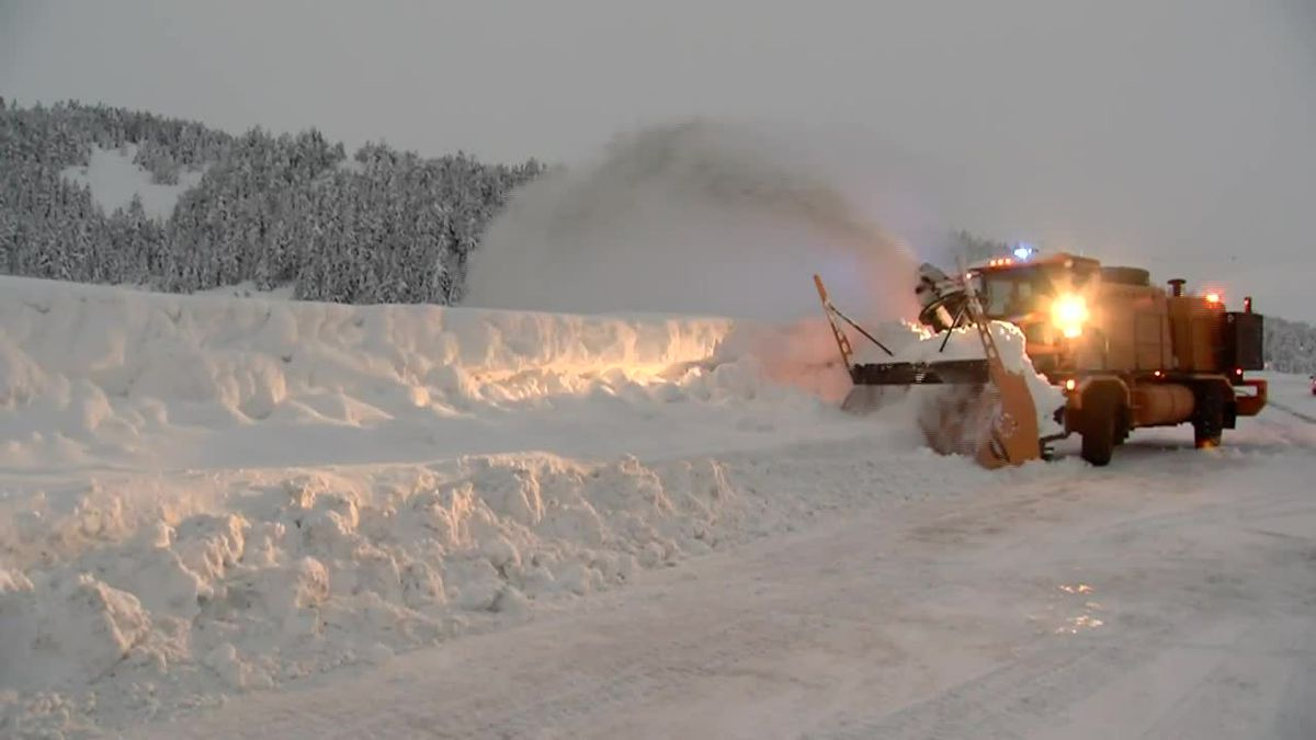 Alaska Department of Transportation Department clear snow along the Seward Highway in Turnagain...