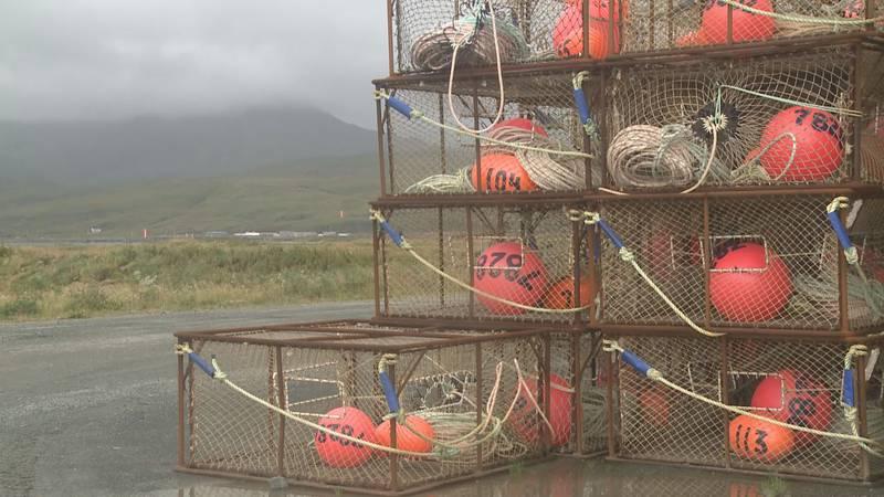 Crab pots stacked in Adak, Alaska.