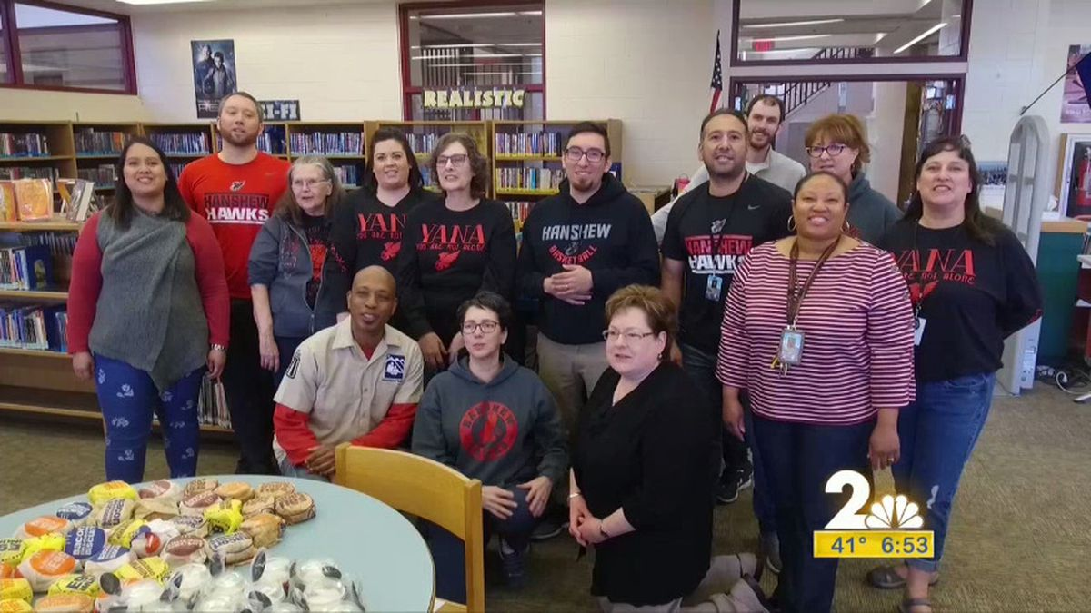 Hanshew Middle School staff were the winners of the Channel 2 Morning Edition's breakfast club.