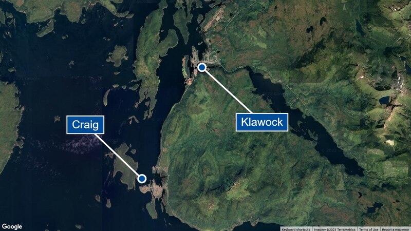 A map of the area near Craig and Klawock, Alaska.