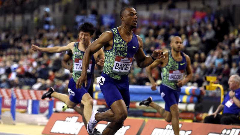 USA's Ronnie Baker wins the Men's 60m during the Glasgow Indoor Grand Prix at the Emirates...