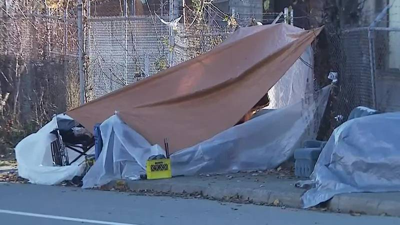 A makeshift shelter in downtown Anchorage, Alaska.