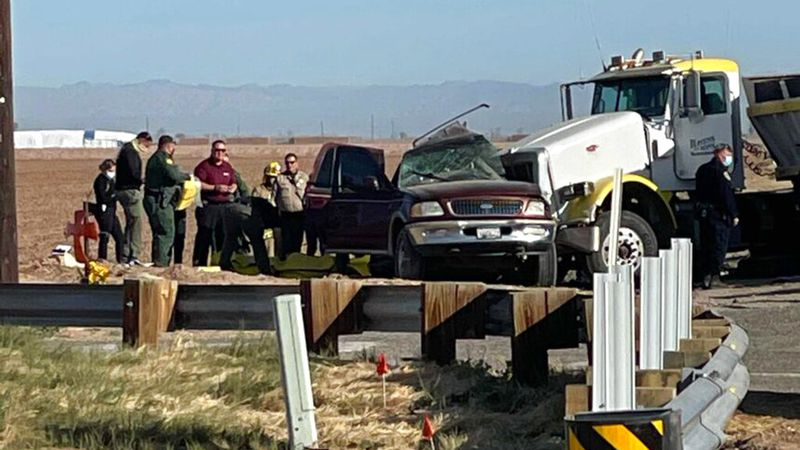In this image from KYMA law enforcement work at the scene of a deadly crash involving a...