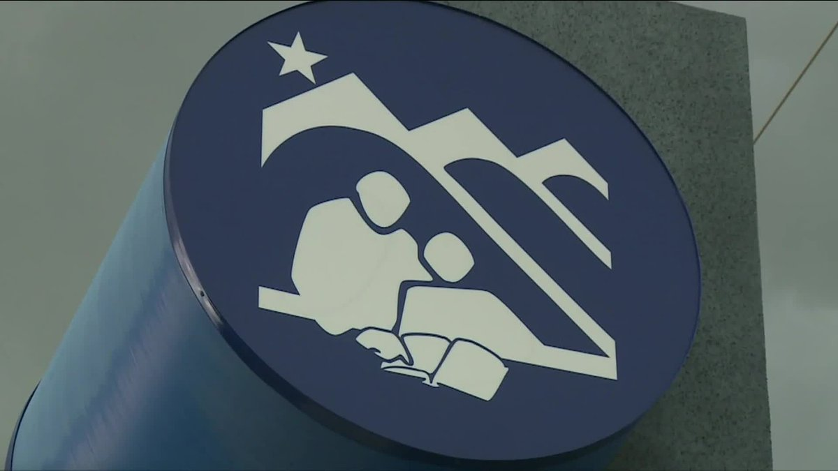 The Anchorage School District logo at the district's headquarters in Anchorage