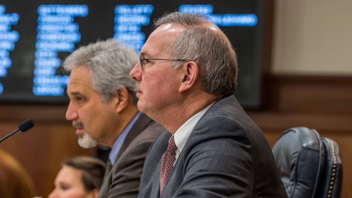 House Speaker Bryce Edgmon (right) and Senate President Pete Kelly (left) watch a joint floor...