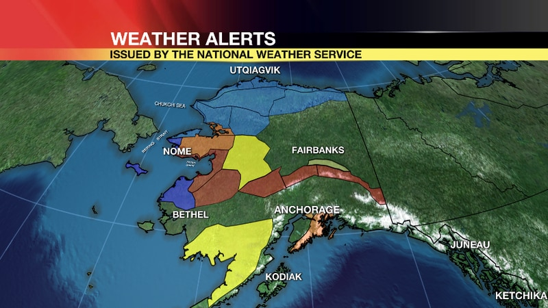 Winter Weather Alerts cover most of western Alaska