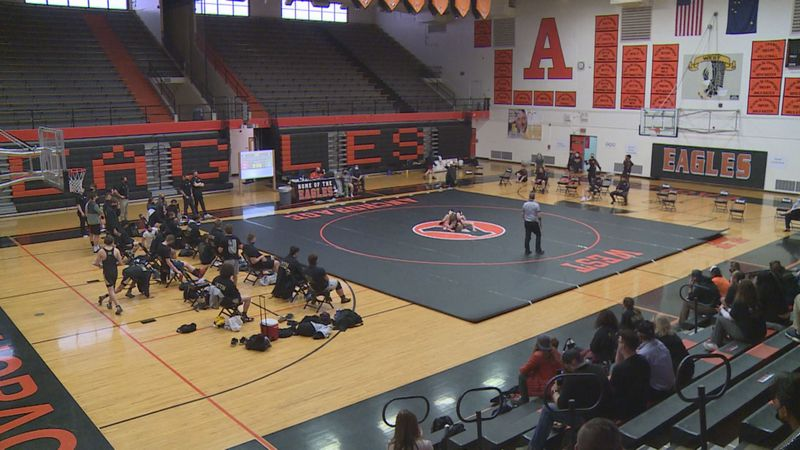 A high school wrestling match at West High School.