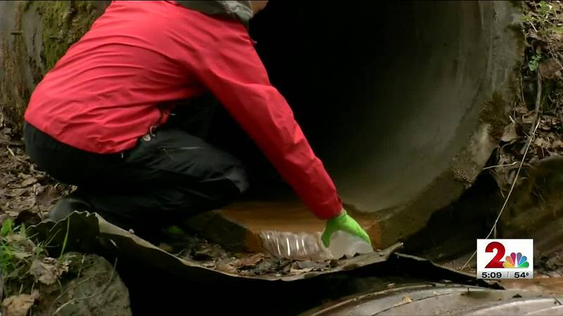 Birgit Hagedorn samples Chester Creek for the presence of a chemical that can kill salmon