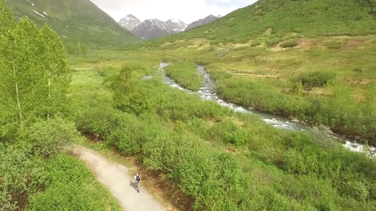A man hikes along the Gold Mint Trail near Hatcher Pass