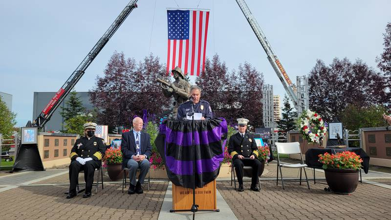 Speakers at 20th Anniversary of the 9/11 attacks at he Alaska Fallen Firefighter Memorial