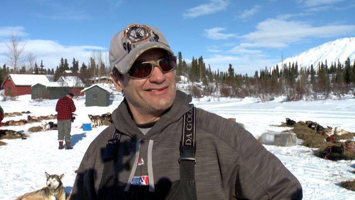 Hugh Neff talks with Channel 2 in the Rainy Pass checkpoint during the 2018 Iditarod. (KTUU)