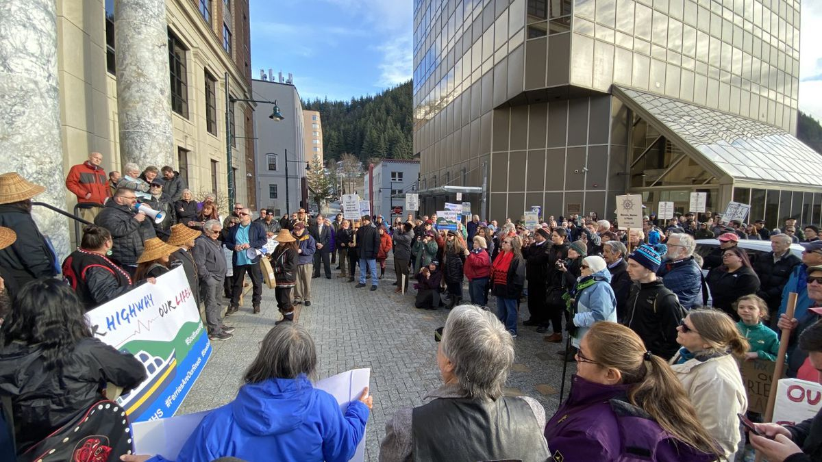 Rally to restore ferry service on the Capitol steps in Juneau. (02/11/20)