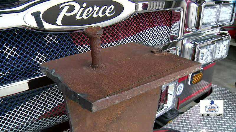 A piece of steel from the World Trade Center's Twin Towers is in Soldotna, Alaska, part of the...